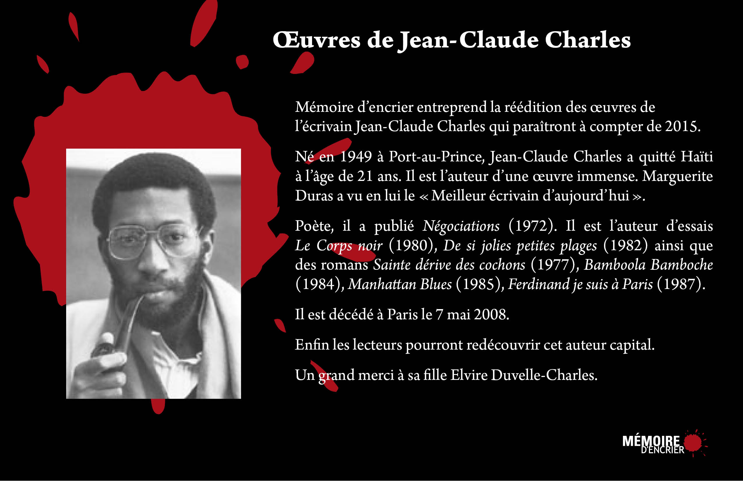 Annonce Oeuvres Jean-Claude Charles